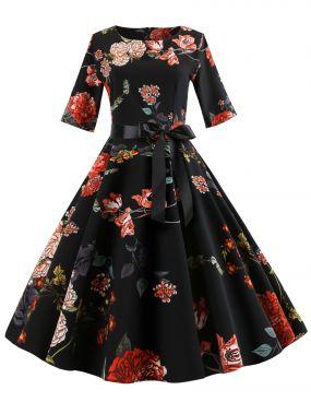 50s платье-клёш с поясом и цветочным принтом