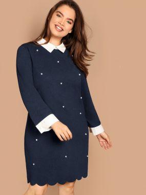 Размер плюс платье с контрастным вырезом и жемчугами