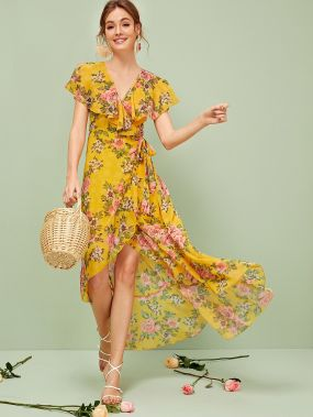 Платье на запах с узлом, оборкой и цветочным принтом