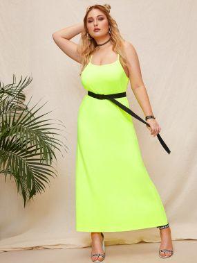 Размера плюс неоновое длинное платье на бретелях без пояса
