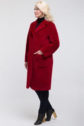 Модное пальто из альпака сури с английским воротником