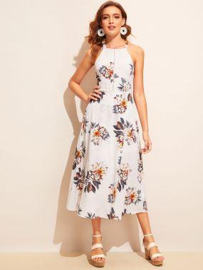 Расклешенное платье с открытой спинкой и цветочным принтом