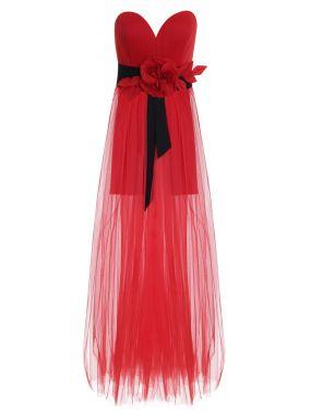 Платье-бандо с сеткой