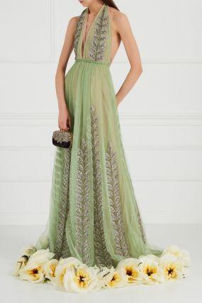 Платье из сетки с вышивкой кристаллами