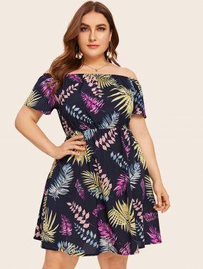 Расклешенное платье с тропическим принтом размера плюс