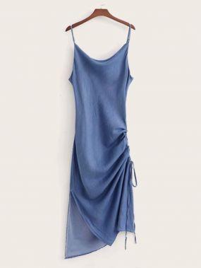 Джинсовое платье с разрезом и кулиской