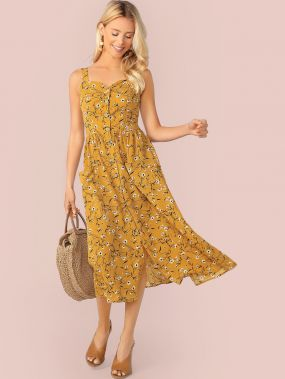 Платье-комбинация с пуговицами и цветочным принтом