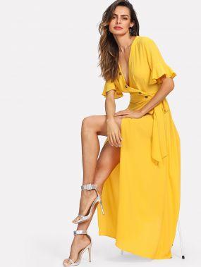 Платье с запахом и v-образным воротником, широкими рукавами
