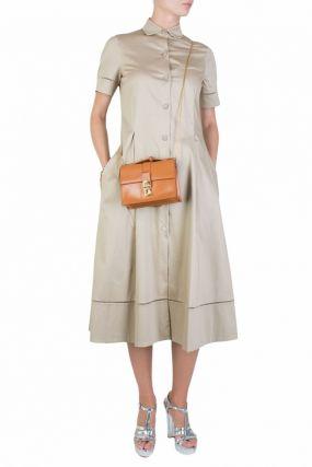 Платье-рубашка бежевого цвета