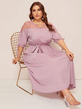 Размер плюс контрастное сетчатое платье