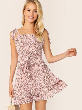 Многослойное платье с цветочным принтом