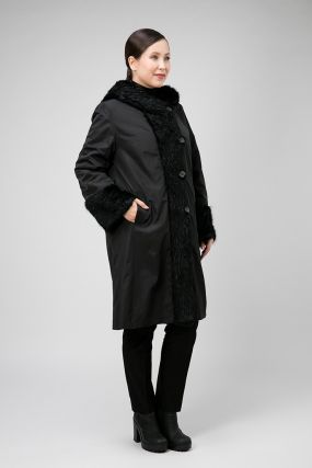 Зимнее длинное пальто на меху кролика для женщин