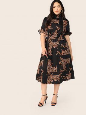 Размер плюс платье с принтом и складным воротником
