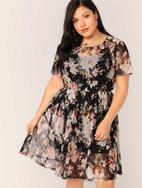 Прозрачное платье с цветочным принтом без майки размера плюс