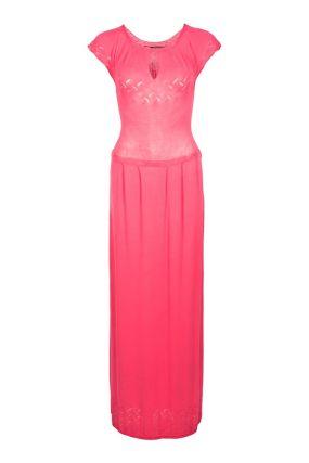Ярко-розовое платье макси