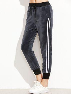 Тёмно-серые модные бархатные брюки в рубчик
