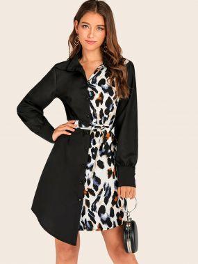Платье-рубашка с леопардовым принтом и поясом