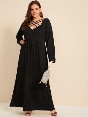Длинное платье размера плюс с узлом сзади