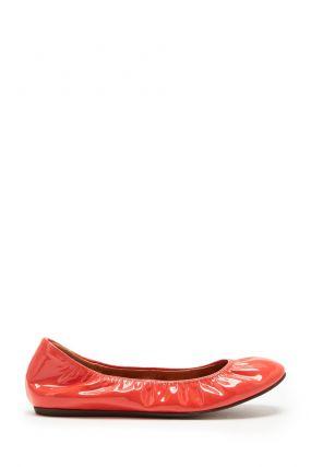Лаковые балетки оранжевого цвета