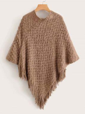 Однотонный свитер-пончо с бахромой