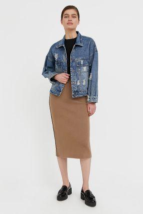 джинсовая куртка с объемными рукавами
