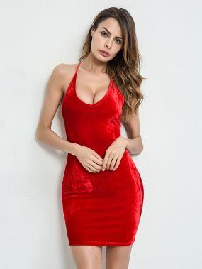 Модное бархатное платье со шнуровкой  и открытой спиной