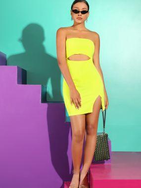 Неоновое желтое платье с разрезом