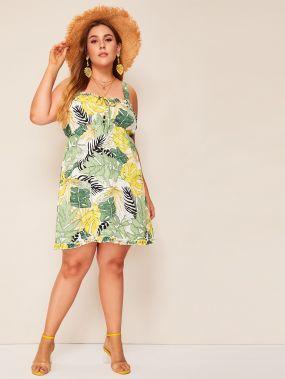 Размер плюс платье на бретелях с лиственным принтом
