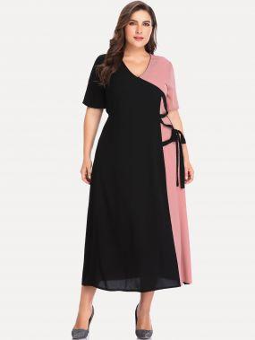 Многихцветные Контрастный цвет Повседневные Платья размера плюс