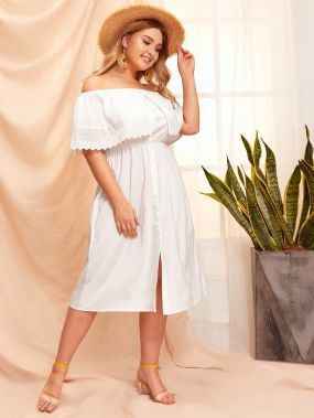 Размер плюс однотонное платье с открытыми плечами