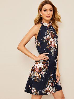 Платье-халтер с цветочным принтом