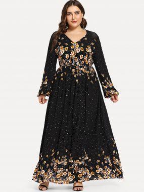 Платье клеш с фонари рукавом размера плюс