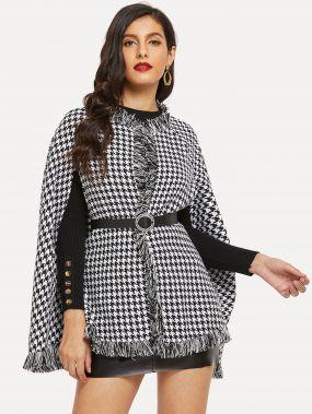 Хаундстут пальто-пончо с бахромой без пояса