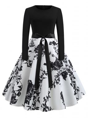 50s платье-клёш с поясом на талли и принтом цветочным