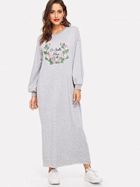 Платье с цветочным принтом с заниженной линией плеч