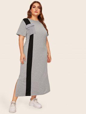 Размер плюс контрастное полосатое платье с разрезом сбоку и карманом