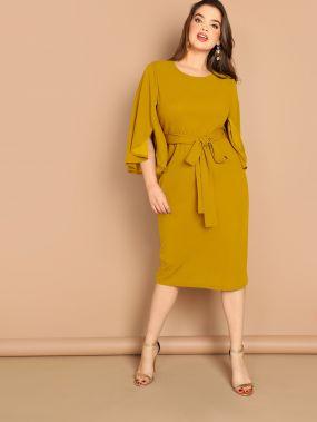 Размер плюс однотонное платье с разрезоми