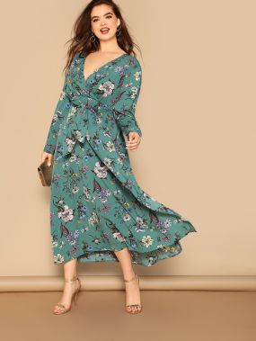 Размер плюс платье с цветочным принтом и разрезом