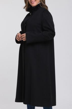 Итальянское расклешенное пальто с мехом норки