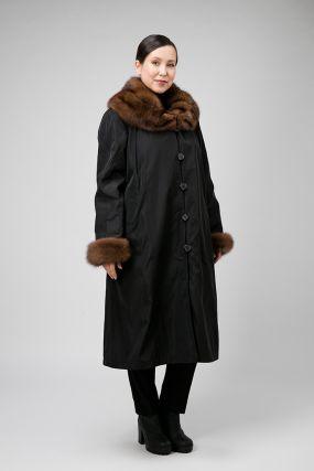 Длинное пальто на меху кролика для больших размеров