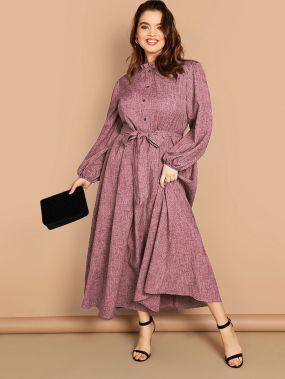 Размер плюс платье с оригинальным рукавом и пуговицами и складкой
