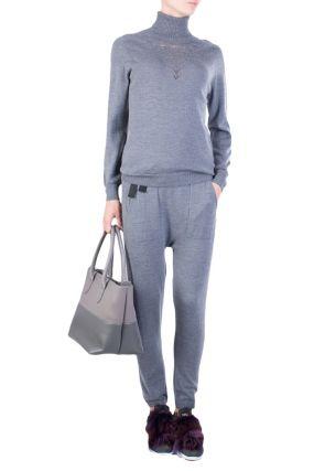 Серые брюки с асимметричной кулиской