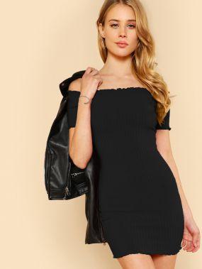 Ребристое платье с открытыми плечами