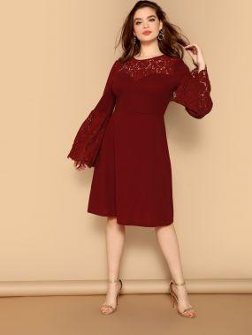 Размер плюс платье с оригинальным рукавом и кружевной вставкой