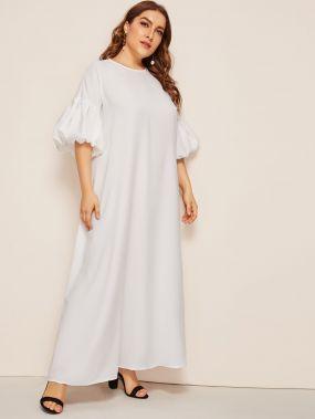 Платье размера плюс с пышными рукавами и застежкой сзади