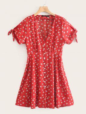 Платье с узлом, цветочным принтом и V-образным вырезом