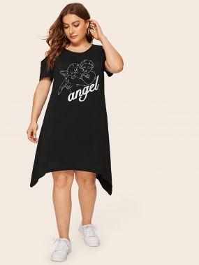 Асимметричное платье с открытыми плечами и модным принтом размера плюс