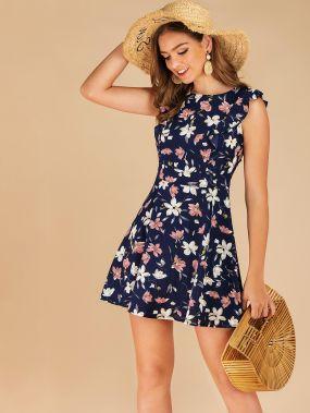 Расклешенное платье с оборкой и цветочным принтом