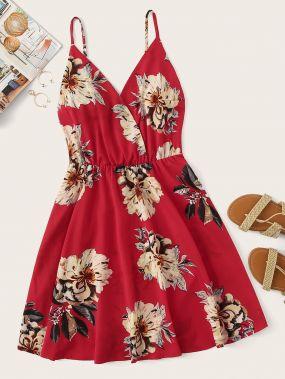 Платье на бретелях размера плюс с цветочным принтом