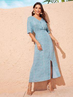 Платье с разрезом, пуговицами и цветочным принтом
